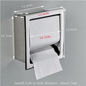 Stainless Steel Bathroom Tissue Box Wall Mounted Square Embedded Chrome Finish Toilet Paper Holder  Bathroom Accessories