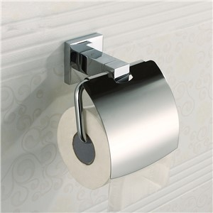 Wholesale And Retail Bathroom 304 Stainless Steel Chrome Toilet Paper Rack with Cover Tissue Holder Towel Shelf Wall Mount