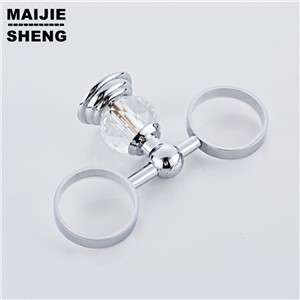 chrome crystal bathroom double cup holder Cups shelf bathoom shelves metal pendant double cup holder teeth Cup