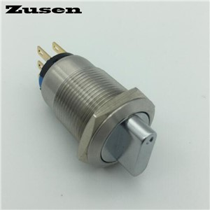 Zusen 19mm metal selector switch 3 position fixed 2NO2NC