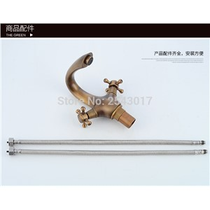 Dual Handle Bathroom Basin Swan Faucet Antique Bronze Classic Faucet deck mounted hot&cold mixer torneira banheiro ZR180