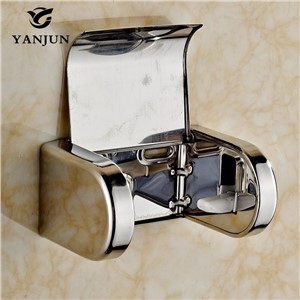 Yanjun Stainless Steel Toilet  Paper Roll Holder With  Flap  Wall Mounted Paper Towel Holder Bathroom Accessories YJ-8814