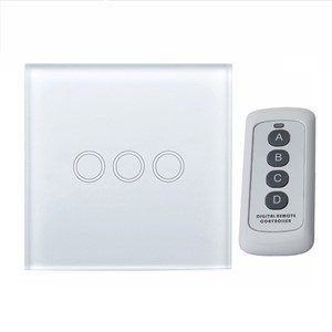 MiniTiger EU Standard 3 Gang 1 Way Remote Control Light Switch, RF433 Remote Touch Light Switch, Wall Light Touch Screen Switch