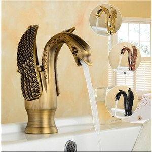 Bathroom Basin Faucet torneira Arts Swan Faucet Hot Cold Water Basin Mixer Golden Tap Sink Faucet Deck Mounted Brass Retro Taps