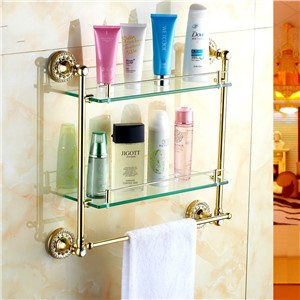 Antique Gold Plated Copper Crystal Double Layer Glass Shelf Polished Glass Dresser Holder With Towel Rack Bathroom Accessories