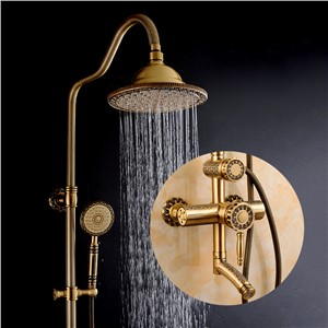 Shower Faucets Luxury Bath Shower Sets Bathroom Wall Mounted Hand Held Antique Brass Shower Head Kit Shower Faucet Set  9712
