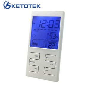 New Weather Station Indoor Thermometer Hygrometer Clock Date Weather Forecast Function with Blue Backlight