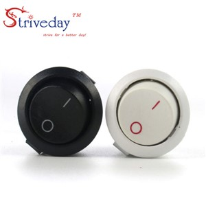 10pcs White Black high quality round button switch ship switch feet two tranches