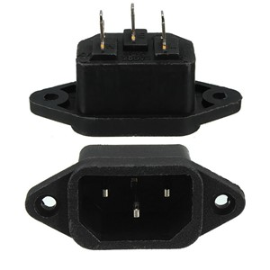 3Pcs AC 250V 10A IEC320 C14 Male 3Pin Panel Mounting Power Inlet Socket SA177 P40