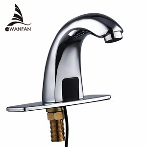 Basin Faucets Automatic Inflared Sensor water Saving Faucets Inductive Kitchen Bathroom Sink Electric Water Taps Silver  8101