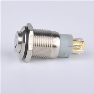 Waterproof latching type 16mm stainless steel shell high head power symbol led light Metal PushButton Switch 12V
