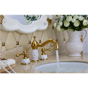 Antique Brownze Finished Gold And White Basin Faucet Solid Brass Finished Widespread Bathroom Sink Faucet