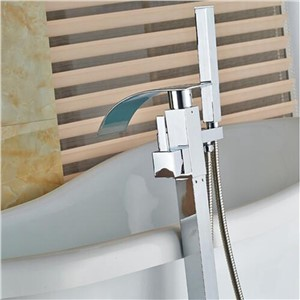 Uythner Free Standing Bathroom Tub Faucet Mixer Tap Free Floor Filler Faucet Tap Chrome Finish