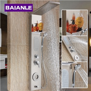 Four function High-grade Bathroom Stainless Steel Shower Panel Wall Mounted Single Handle shower Faucet System Shower Set