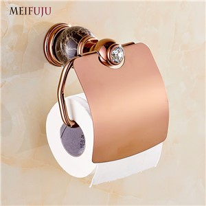 Wholesale And Retail Jade Marble Toilet Paper Holder Rack Luxury Rose Gold Bathroom Accessories Tissue Box Paper Towel Holders