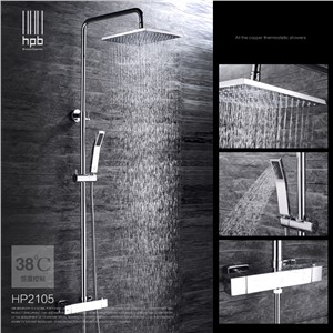 "Bathroom Hot and Cold water Shower Set Thermostat Brass Chrome Wall Mounted Rainfall Shower Faucet 8"" 10"" with with Hand Shower"