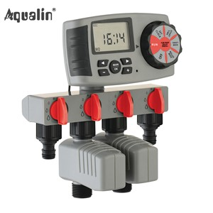 2017 Aqualin Automatic 4-Zone Irrigation System Watering Timer Garden Water Timer Controller with 2 Solenoid Valve #10204A