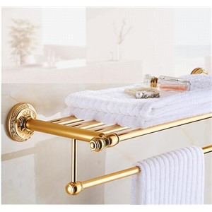New Arrivals Aluminum Bathroom Towel Holder Luxury Antique Gold Hotel Home Bathroom Towel Rack Rail Shelf  porta toalha