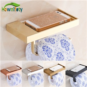 Solid Brass Bathroom Toilet Paper Holder Lavatory Roll Paper Tissue Rack with Phone Holder