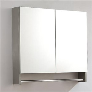 Stainless steel toilet bathroom mirror cabinet. Shelf with lens storage box.