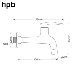 HPB Brass Chrome Bibcock Faucet for Bathroom Washing Machine Tap Garden Faucet Outdoor Bathroom Mixer HP7306