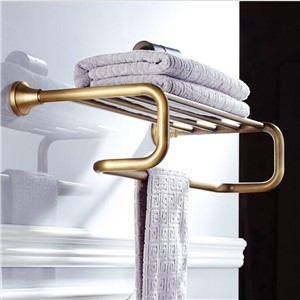 Antique Bronze Fixed Bath Towel Holder Brass Towel Rack Holder for Hotel or Home Bathroom Storage Rack Towel Shelf