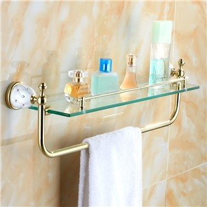 Antique Gold Polished Makeup Holder With Towel Rack Gold Crystal Copper Plated Glass Shelf Wall Mount Bathroom Accessories