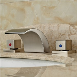 Brushed Nickle Finish Waterfall Spout Bathroom Sink Mixer Taps Deck Mounted Dual Handles Faucet