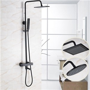 "Oil Rubbed Bronze 8"" Shower Head with Plastic Hand Shower Adjustable Height Bathroom Shower Faucet"