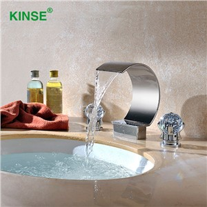KINSE Contemporary Chrome Brass Waterfall Faucet Cold and Hot Deck Mounted Art Basin Faucet For Bathroom