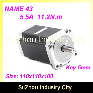 High Torque NEMA43 CNC stepper motor 110mm motor  length 100mm torque 11.2N.m 5.5A shaft 19mm stepping motor for CNC Machine