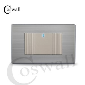 COSWALL US Standard 1 Gang 2 Way Light Switch With LED Indicator Push Button Wall Switch Stainless Steel Panel 118mm * 72mm