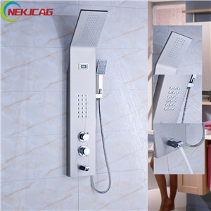 Wall Mounted Thermostatic Shower Panel Stainless Steel Tower Shower Column Massage Systerm + Hand Shower + Tup Spout