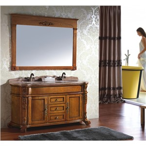 Antique Style Brown Color Double Sink Wooden Bathroom Cabinet 0281-B-8019