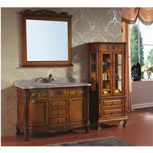 Large Size Antique Style  Wooden Bathroom Cabinet with Leg  0281-B-8039