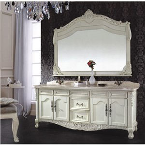 Antique Style White Color Wooden Double Sink Bathroom Cabinet 0281-B-8093