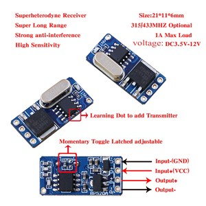 Mos No Sound Remote Control Switch DC3.7V 4.5V 5V 6V 7.4V 9V 12V Micro Small LED Motor Wireless Switch No Battery 315/433Mhz