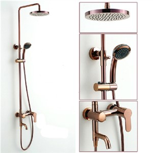 Classic Luxury Rose Gold Plate Lifting Wall Mounted Bath Shower Set Antique Faucet Mixer Taps Rainfall Head with Handheld Spray