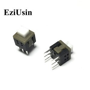 EziUsin 5.8*5.8 Self-locking Switch Push Tactile Power Micro Switch Self lock On/Off  Latching Switch Flat Head