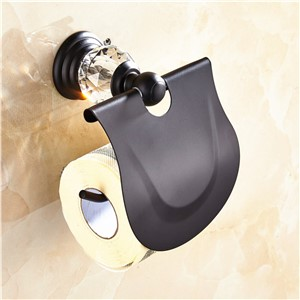 AUSWIND European Black Oil Bronze Toilet Paper Holder With Cover Crystal Zinc Alloy Wall Mounted Bathroom Lavatory BL2