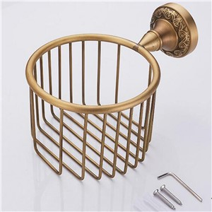 Antique Brass Finish Bathroom Toilet Paper Holder Rack Tissue Baskets Wall Mount  Wholesale And Retail