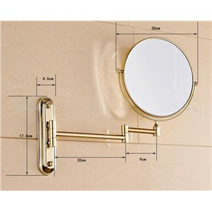 Golden Bathroom 8 Inch Cosmetic Mirror Dual Arm Extend 3 x Magnifying Mirror Wall Mount