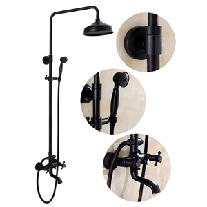"Bathroom Black Antique Brass Shower Column Shower Set Wall Mounted 8"" Rainfall Shower Mixer Tap Faucet 3-functions Mixer Valve"