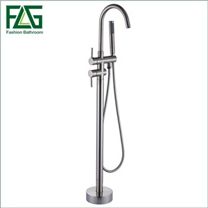 FLG Single Handles Bathroom Floor Mounted Bathroom Tub Faucets Nickel Brushed Shower Mixer Swivel Spout Shower Mixer