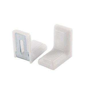 Cabinet 28mmx28mmx19mm Metal Plastic L Angle Bracket White 4Pcs