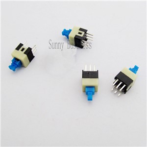 30pcs/lot Square 7x7x12mm 6 Pin DPDT Mini Push Button Self-locking Switch G64 Multimeter Switch