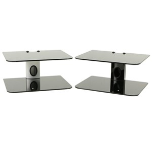 TV Box Router Shelf Bracket Set-top Boxes Mini PC DVD Player Wall Mount Holder with 2 Black Strengthened Tempered Glass