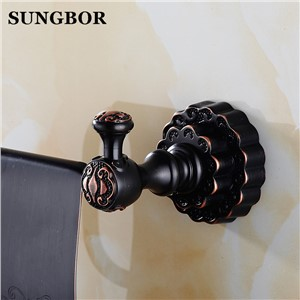 Twin Flowers Series Carving Black Brass Toilet Paper Holders Bathroom Accessories Paper Shelf Paper Rack FA-80808