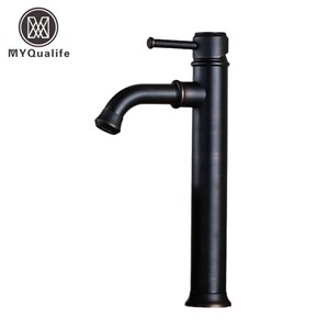 Brass Single Handle Black Basin Faucet Deck Mounted Countertop Bathroom Basin Sink Mixers with Hot and Cold Water