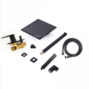 Brass quality black color shower set wall mounted arm 8 10 12 inch rain shower head choice water mixer onekey water separator